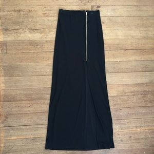 Black Maci Skirt With Slit and Gold Zipper Detail
